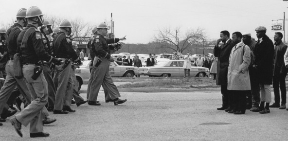 """Two Minute Warning,"" confrontation between Selma police and marchers 03/07/1965 Photo taken by Spider Martin M-2 12328_2006_001"